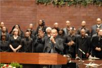 "Pastor Larry Roberts and the Tribute Choir sing ""Please be Patient With Me"""