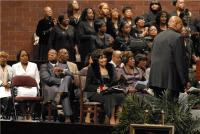 Tribute Choir sings as Albertina's pastor Bernard Jakes, Inez Andrews and Deloris Washington look on