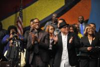 Donald Lawrence and Israel Houghton enjoying Donnie McClurkin