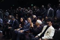 Donny Mcguire seated next to Delois Winans, Rev. Jesse Jackson, Rev Will Hall, Kurt Carr with Edwin Hawkins standing in back