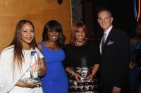 Erica Campbell; BMI VP Writer/Publisher Relations, Catherine Brewton; Tina Campbell; BMI President & CEO, Mike O'Neill