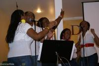 Maurice Griffin's background singers showcasing their tight harmonies