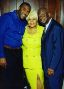 Wedding guests Clyde Duffie and Jeff Grant (of Verity Records) with Vanessa Bell Armstrong