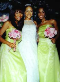 Erica with bridesmaids Brandy Norwood and Joi Campbell