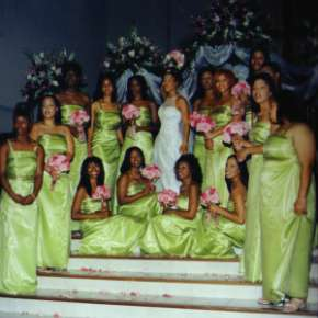 Erica Campbell with bridesmaids